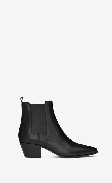 SAINT LAURENT Flat Booties Woman rock 40 ankle boot in black leather a_V4