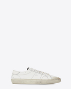 SAINT LAURENT Low Sneakers U sneakers signature court classic surf sl/37 color bianco sporco in pelle effetto usato f