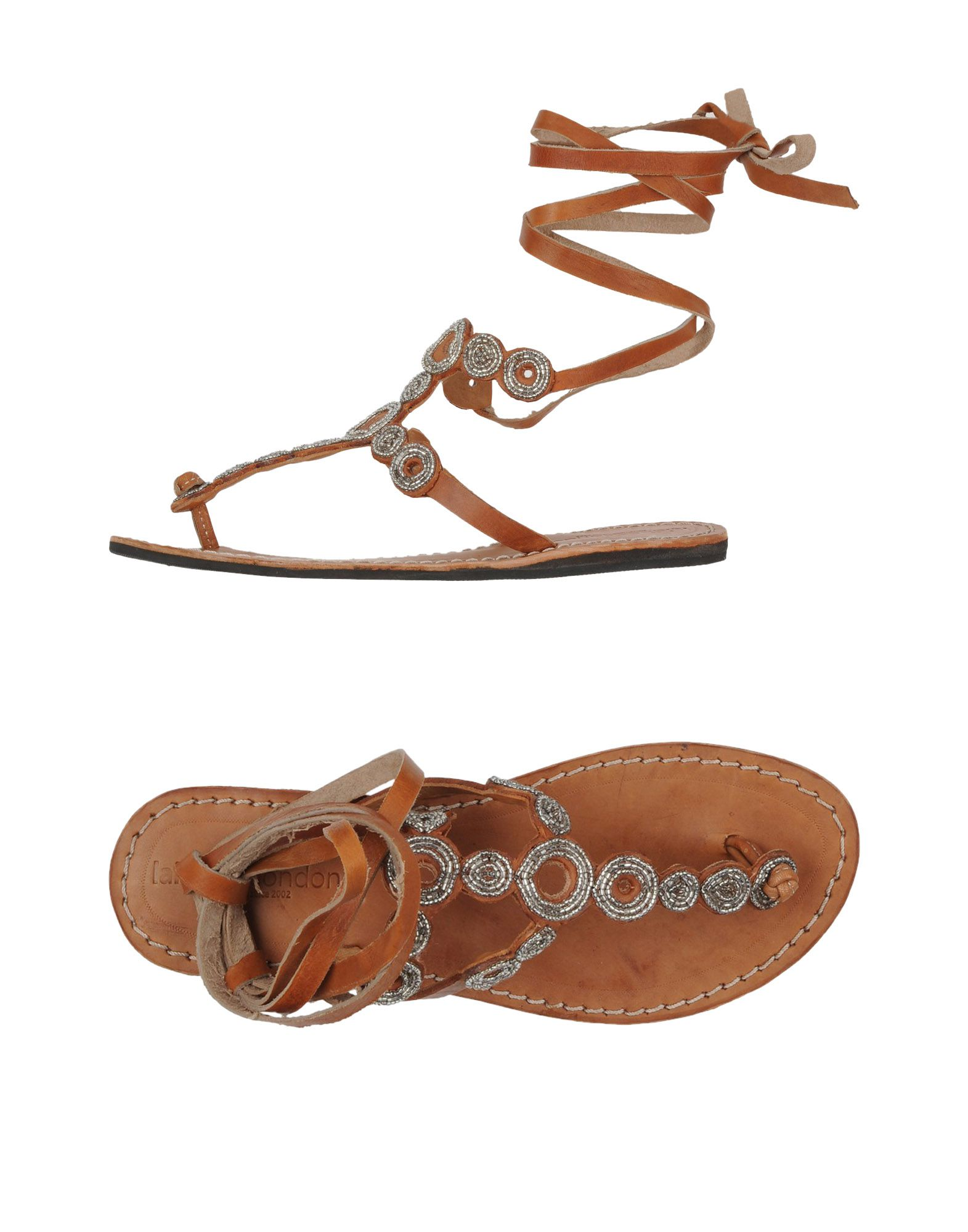 LAIDBACK LONDON Toe Strap Sandals in Brown