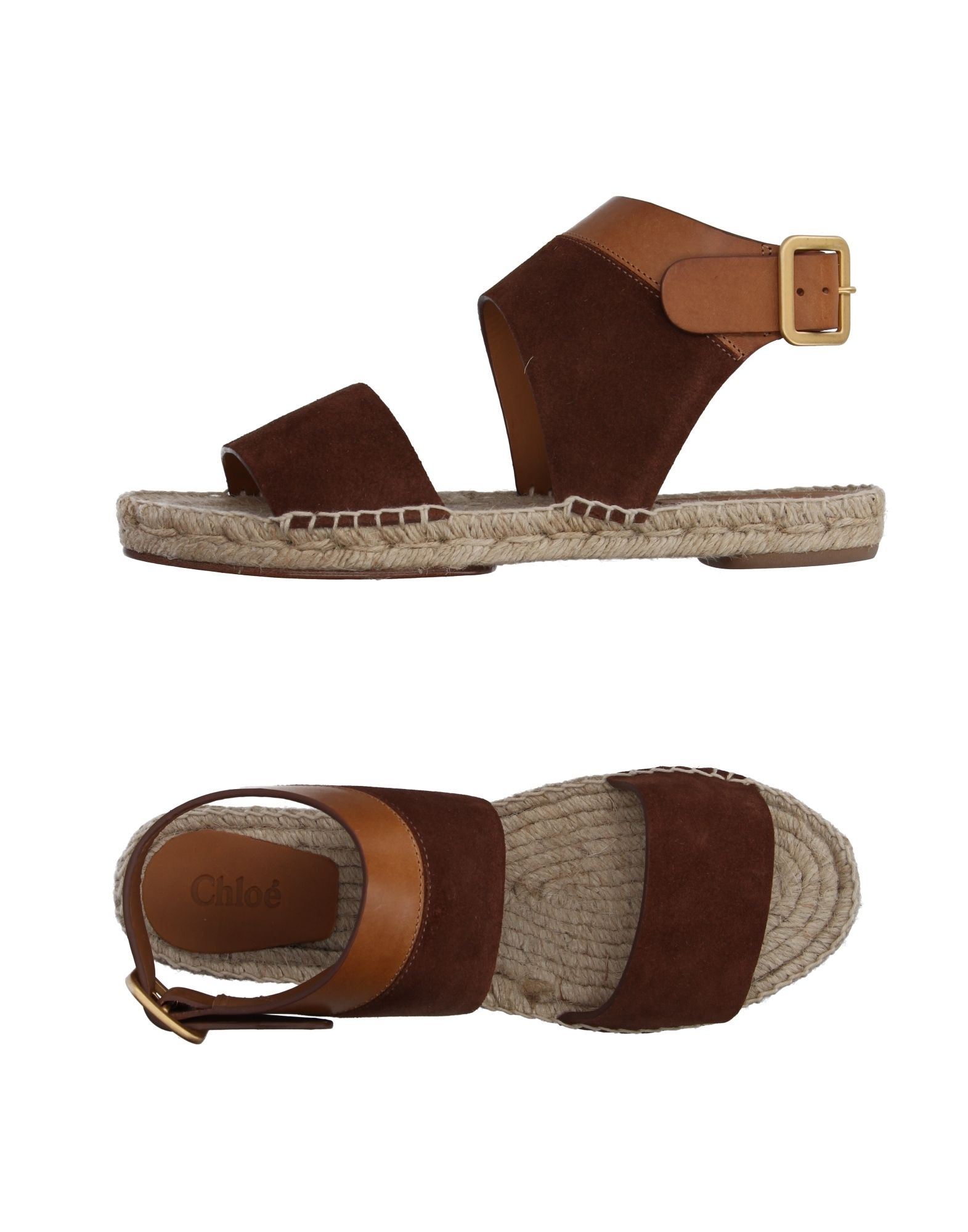 CHLOÉ Espadrilles. stitching, two-tone pattern, round toeline, leather sole, cuban heel, leather lining, buckle, sueded effect, contains non-textile parts of animal origin. Soft Leather