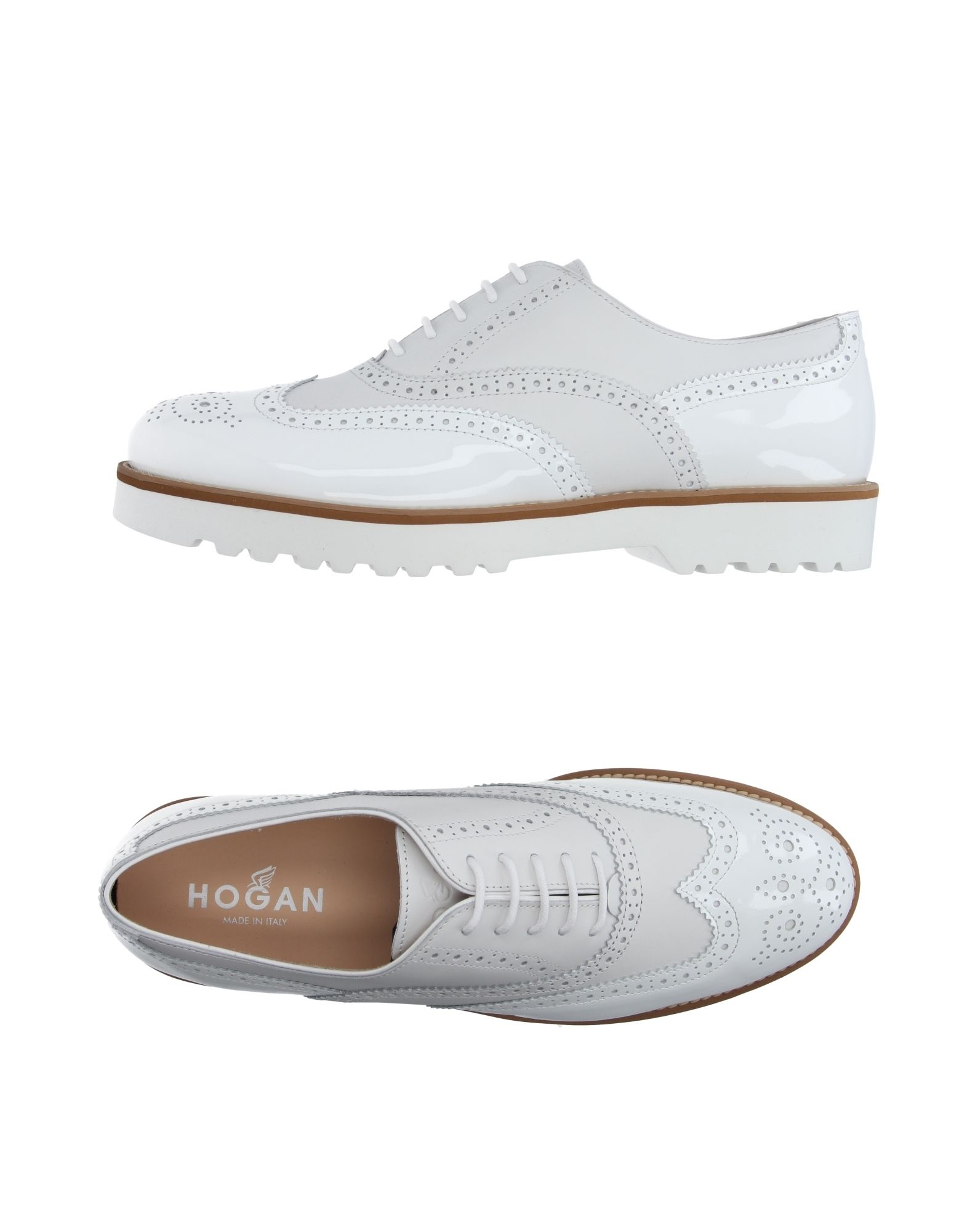 HOGAN Lace-up shoes. varnished effect, logo, solid color, round toeline, leather lining, rubber sole, square heel, contains non-textile parts of animal origin. Soft Leather
