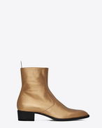 SAINT LAURENT Boots U signature wyatt 40 zipped boot in dark gold grained metallic leather f