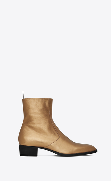 SAINT LAURENT Boots Man signature wyatt 40 zipped boot in dark gold grained metallic leather a_V4