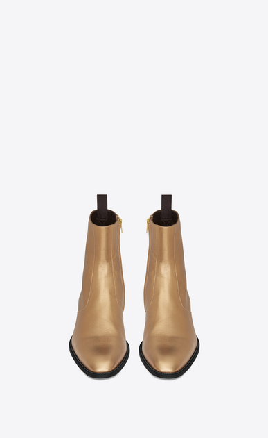 SAINT LAURENT Boots Man signature wyatt 40 zipped boot in dark gold grained metallic leather b_V4