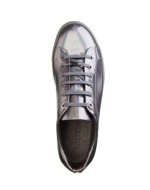 lanvin patent calfskin sneaker men
