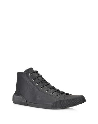 VULCANIZED GRAINED CALFSKIN MID TOP SNEAKER