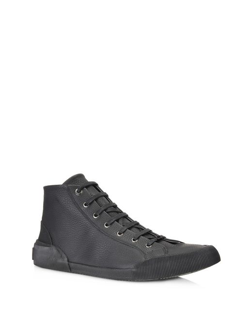 lanvin vulcanized grained calfskin mid top sneaker  men