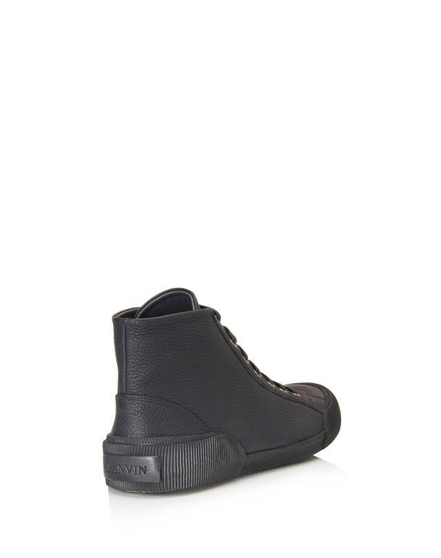 LANVIN VULCANIZED GRAINED CALFSKIN MID TOP SNEAKER Sneakers U e