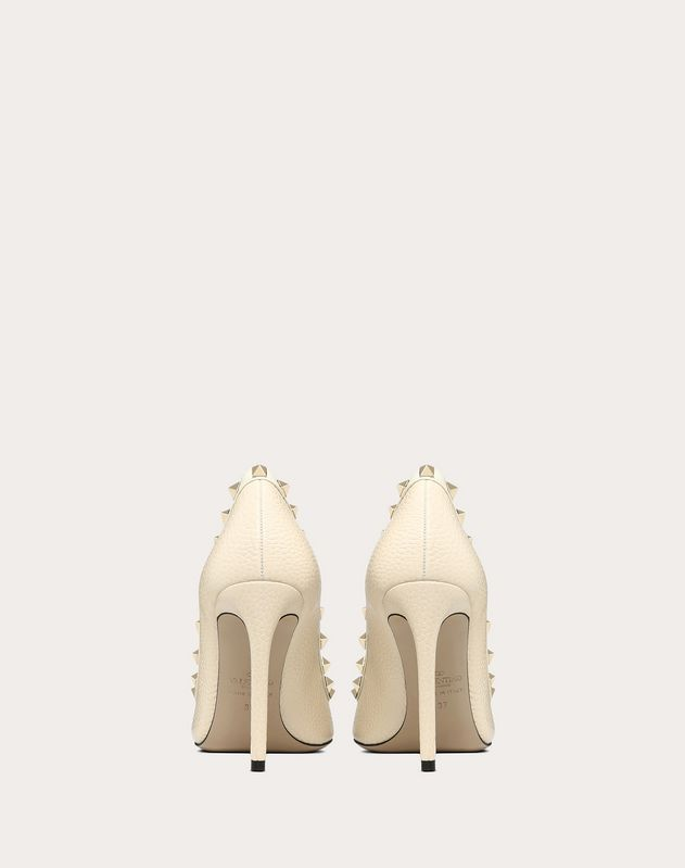Grain calfskin leather Rockstud Pump 100mm