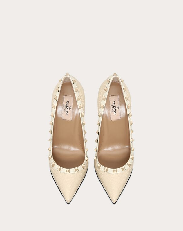 Rockstud Grainy Calfskin Pump 100  mm