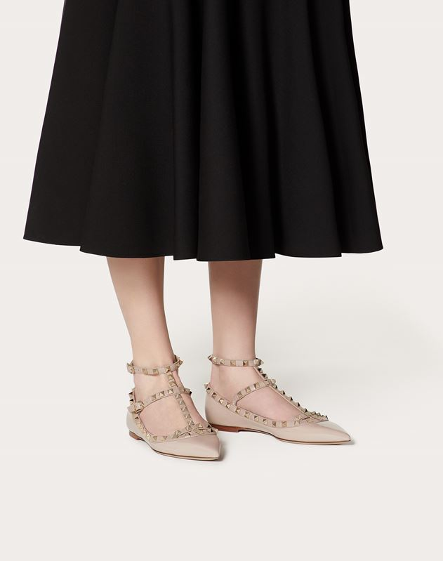 Patent Cage Rockstud Ballet Flat