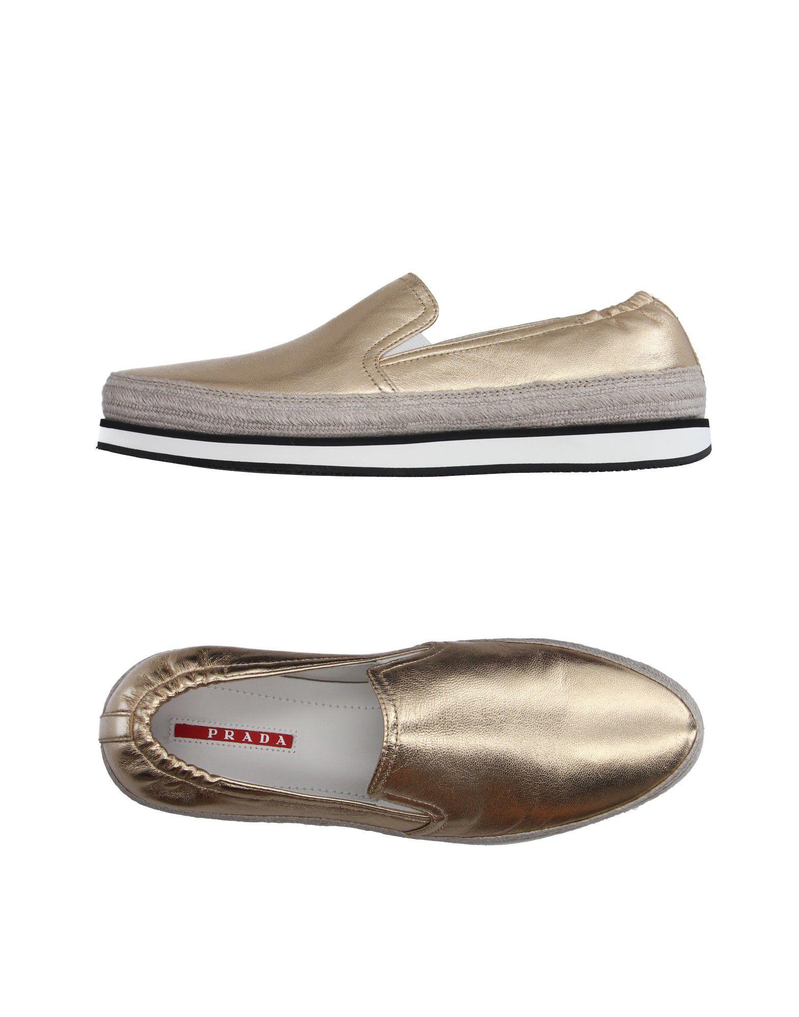 PRADA SPORT Damen Low Sneakers & Tennisschuhe Farbe Gold Größe 7