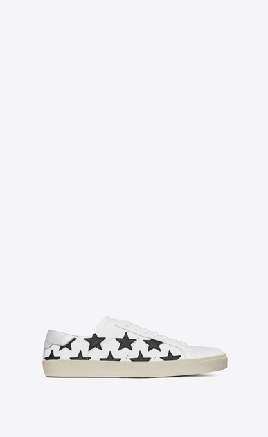 SAINT LAURENT Sneakers Woman signature court classic sl/06 california sneaker in optic white, black and silver leather a_V4