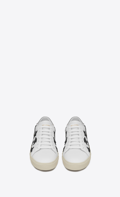 SAINT LAURENT Sneakers Woman signature court classic sl/06 california sneaker in optic white, black and silver leather b_V4