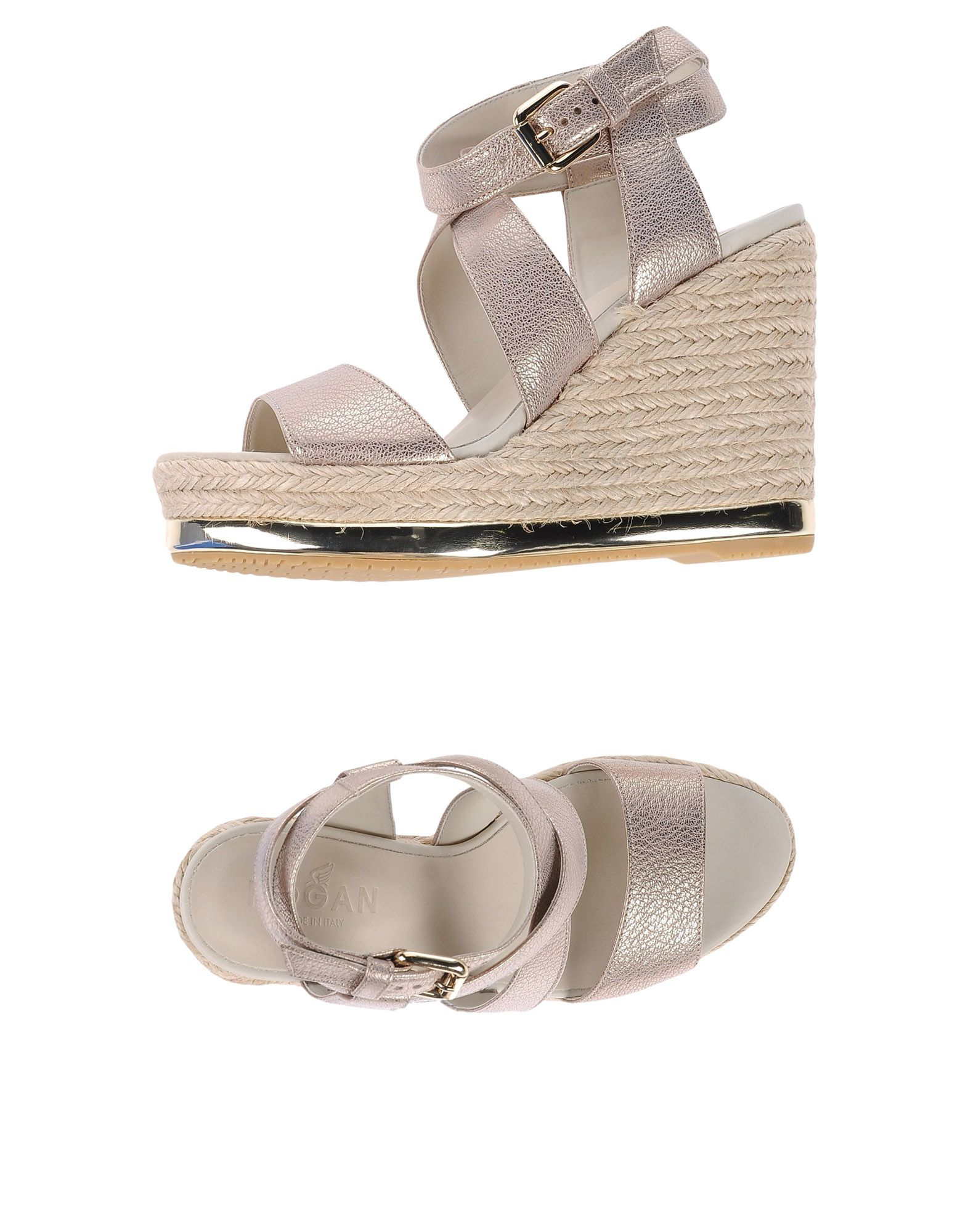 HOGAN Espadrilles. textured leather, laminated effect, no appliqués, solid color, wrapping straps closure, round toeline, leather lining, rubber sole, wedge heel, rope wedge, contains non-textile parts of animal origin. Soft Leather