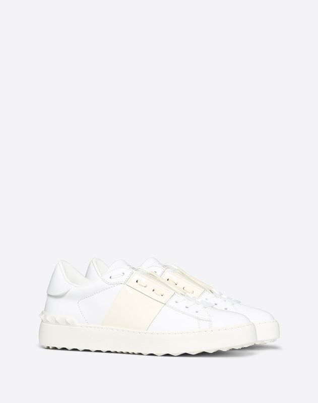 Patent Leather Stripe Open Sneaker