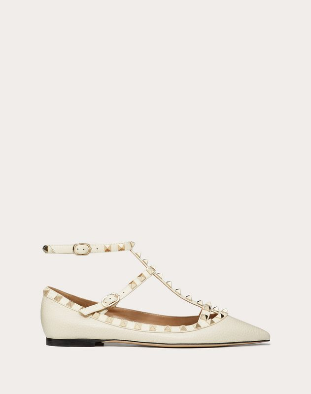 Grain Calfskin Leather Rockstud Caged Ballet Flat
