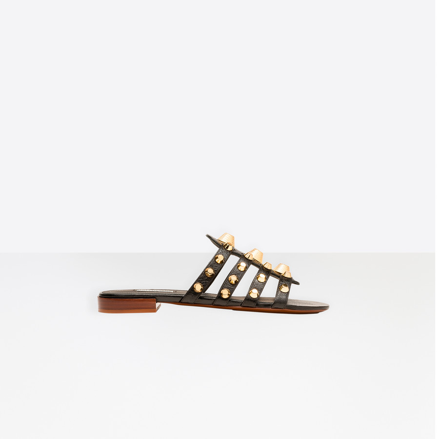 BALENCIAGA Giant Gold Mule Arena leather Shoes D f