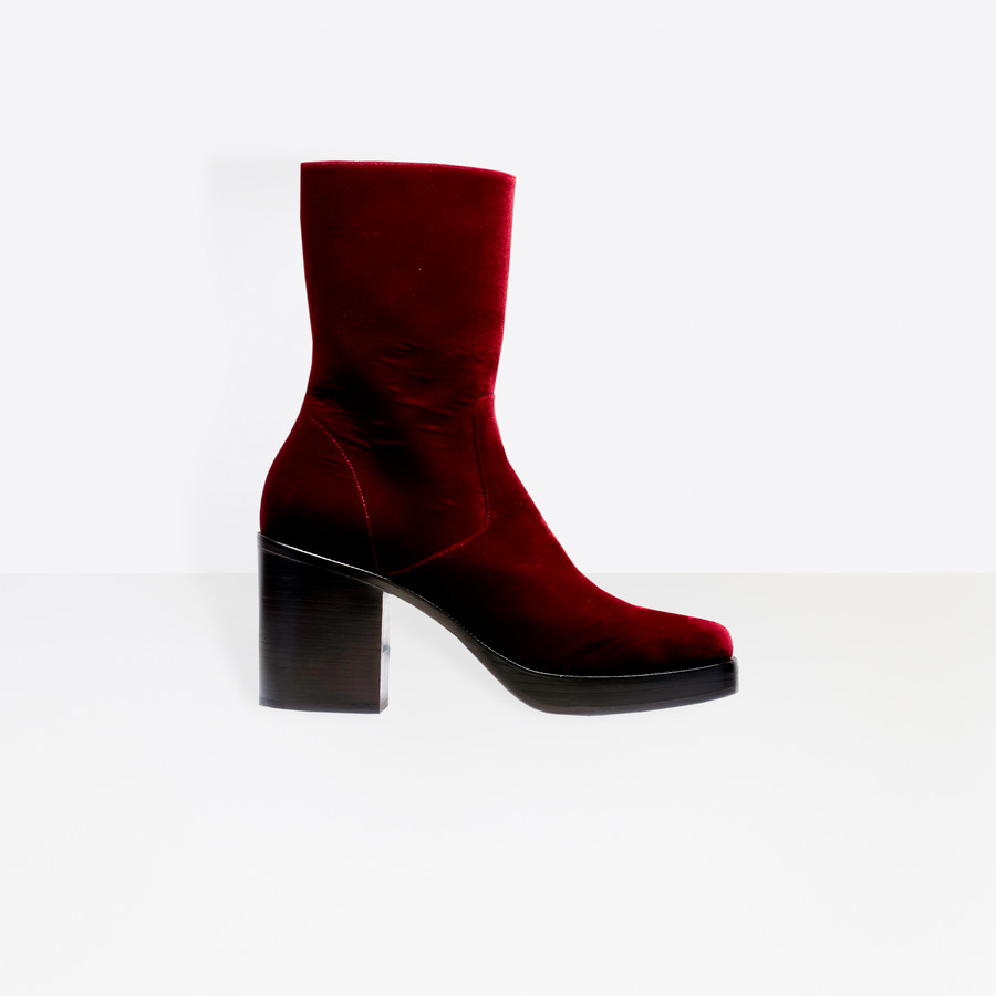 BALENCIAGA Velvet Platform Booties Other Shoes U f