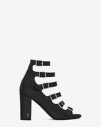 SAINT LAURENT Babies D BABIES 70 Ankle Boot in Black Suede and Silver-Toned Metal f
