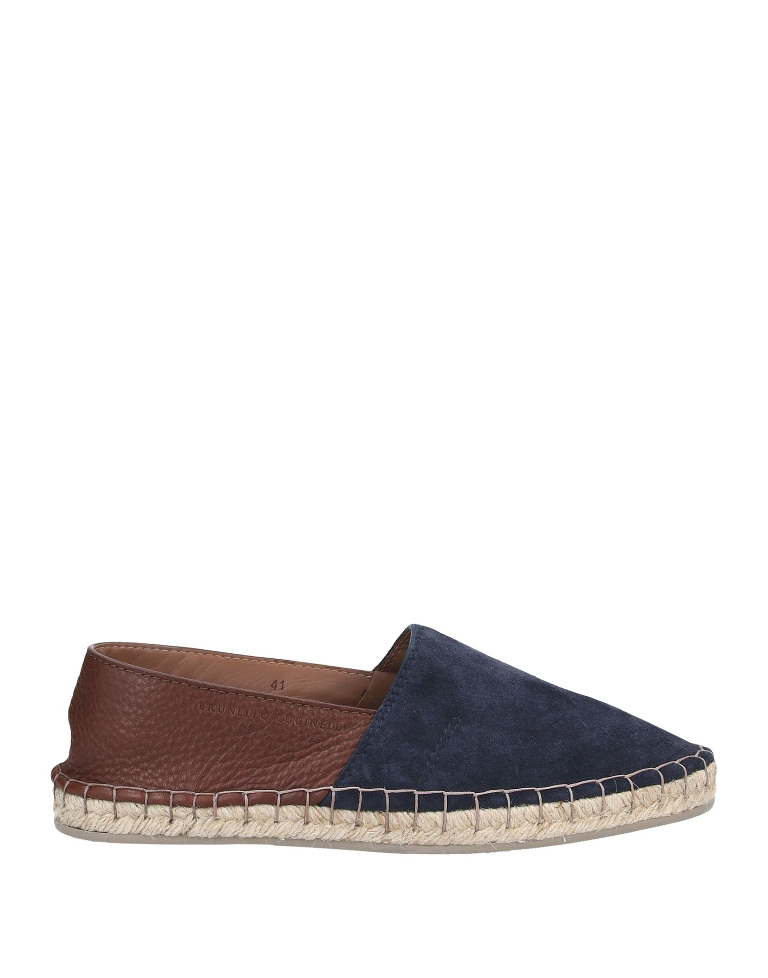 BRUNELLO CUCINELLI Espadrilles. textured leather, sueded effect, logo, two-tone pattern, round toeline, leather lining, rubber sole, flat, contains non-textile parts of animal origin. Soft Leather