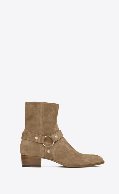 SAINT LAURENT Boots U classic wyatt 40 harness boot in light tobacco suede a_V4