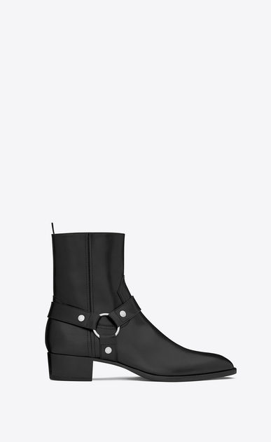 SAINT LAURENT Boots Man classic wyatt 40 harness boot in black leather a_V4