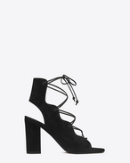 SAINT LAURENT Babies D babies 90 cage sandal in black suede f