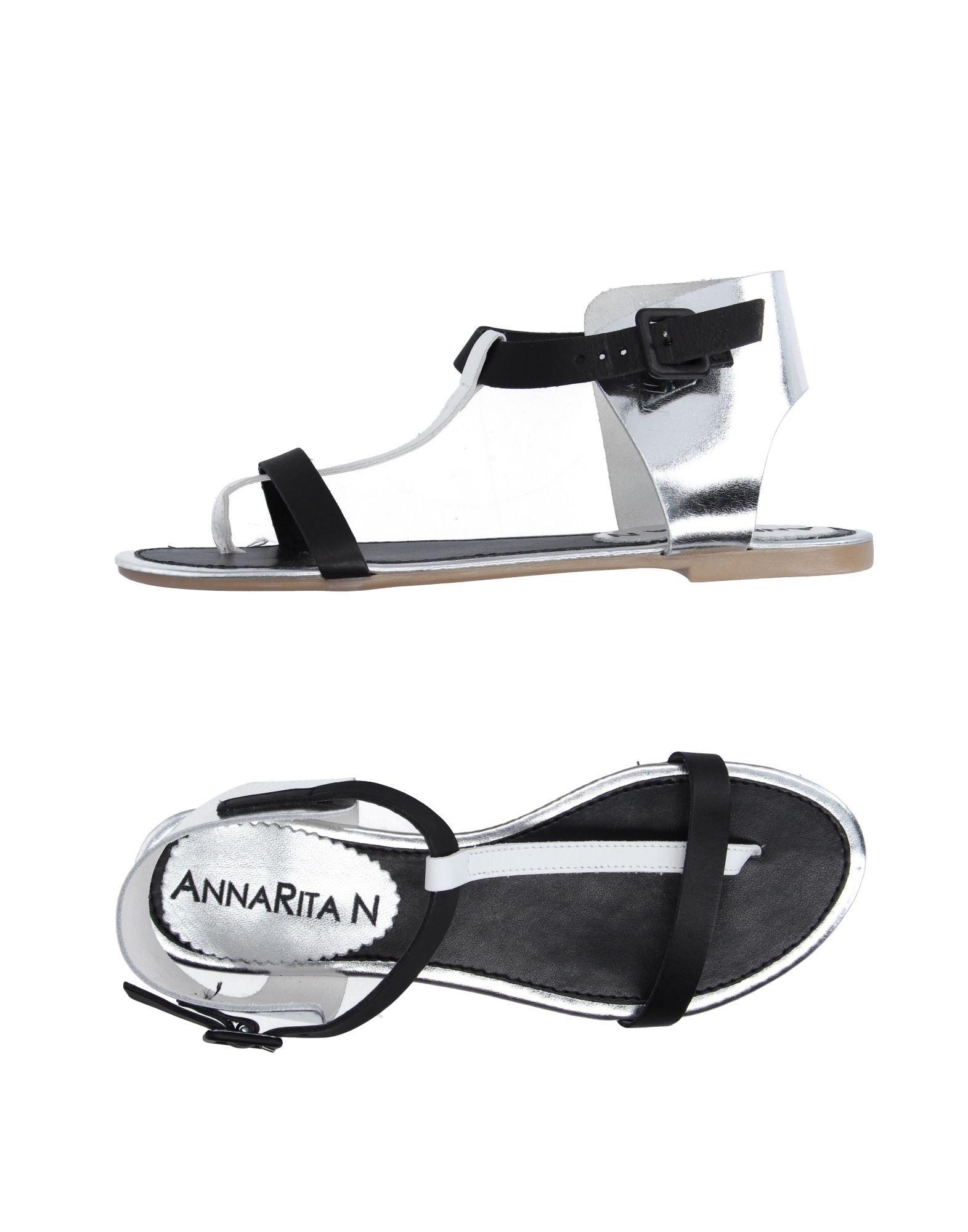 《送料無料》ANNARITA N. レディース トングサンダル ブラック 38 革