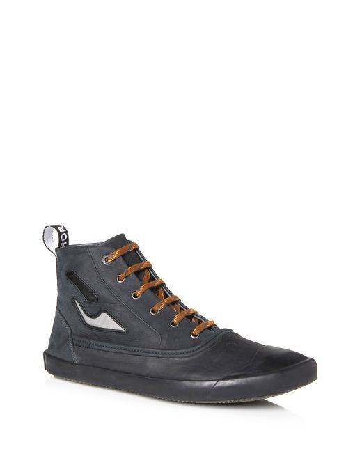 lanvin vulcanized calfskin mid-top sneaker  men