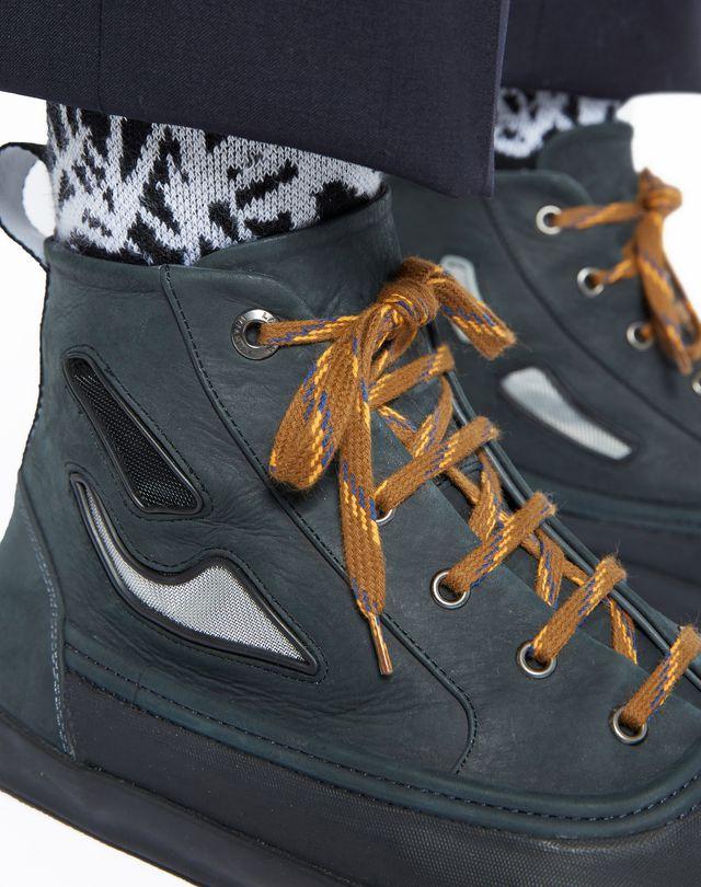 LANVIN VULCANIZED CALFSKIN MID-TOP SNEAKER Sneakers U a