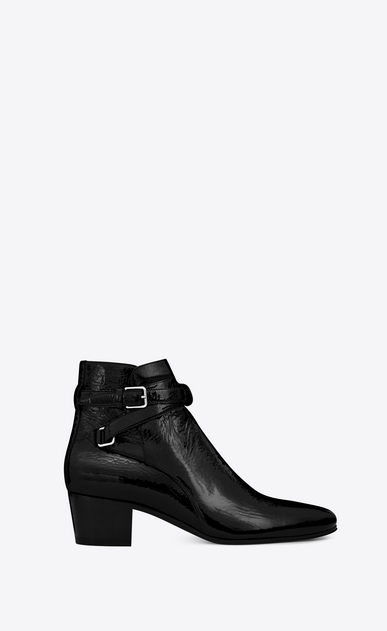 SAINT LAURENT Flat Booties D Signature BLAKE 40 Jodhpur Boot in Black patent leather a_V4