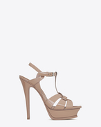 SAINT LAURENT Tribute D classic tribute 105 sandal in beige rosé patent leather f