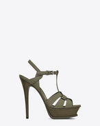 SAINT LAURENT Sandals D Classic TRIBUTE 105 Sandal in Military Khaki painted Leather f