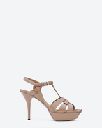 SAINT LAURENT Tribute D classic tribute 75 sandal in beige rosé patent leather f