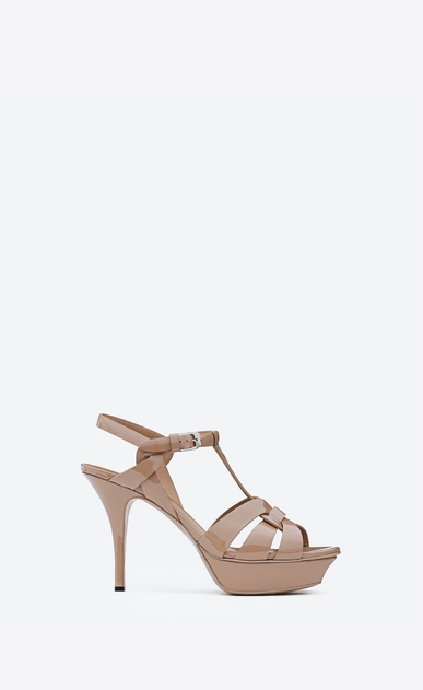 SAINT LAURENT Tribute D classic tribute 75 sandal in beige rosé patent leather a_V4