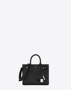 nano sac de jour souple bag in black grained leather