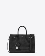 Small SAC DE JOUR Souple Bag in Black crocodile embossed leather