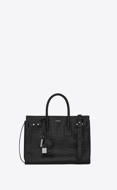 SAINT LAURENT Sac De Jour Supple D Small SAC DE JOUR Souple Bag in Black crocodile embossed leather a_V4