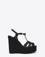 SAINT LAURENT Espadrille D ESPADRILLE 95 T Strap Wedge Sandal in Black leather f