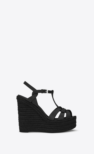 SAINT LAURENT Espadrille D ESPADRILLE 95 T Strap Wedge Sandal in Black leather a_V4