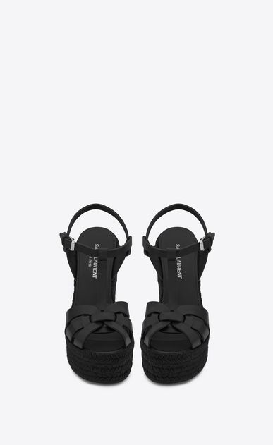 SAINT LAURENT Espadrille D ESPADRILLE 95 T Strap Wedge Sandal in Black leather b_V4