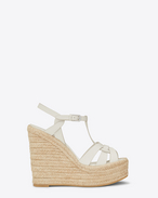 SAINT LAURENT Espadrille D ESPADRILLE 85 T Strap Wedge Sandal in Dove White f
