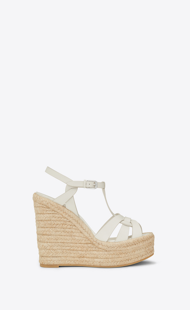 SAINT LAURENT Espadrille Woman espadrille 95 t strap wedge sandal in dove white a_V4