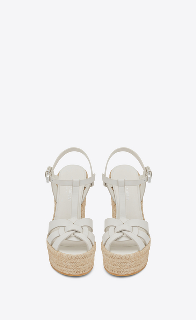 SAINT LAURENT Espadrille Woman espadrille 95 t strap wedge sandal in dove white b_V4