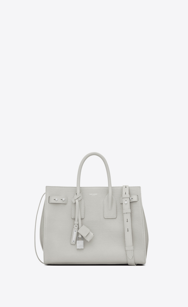 SAINT LAURENT Sac De Jour Supple D small sac de jour souple bag in chalk white grained leather a_V4