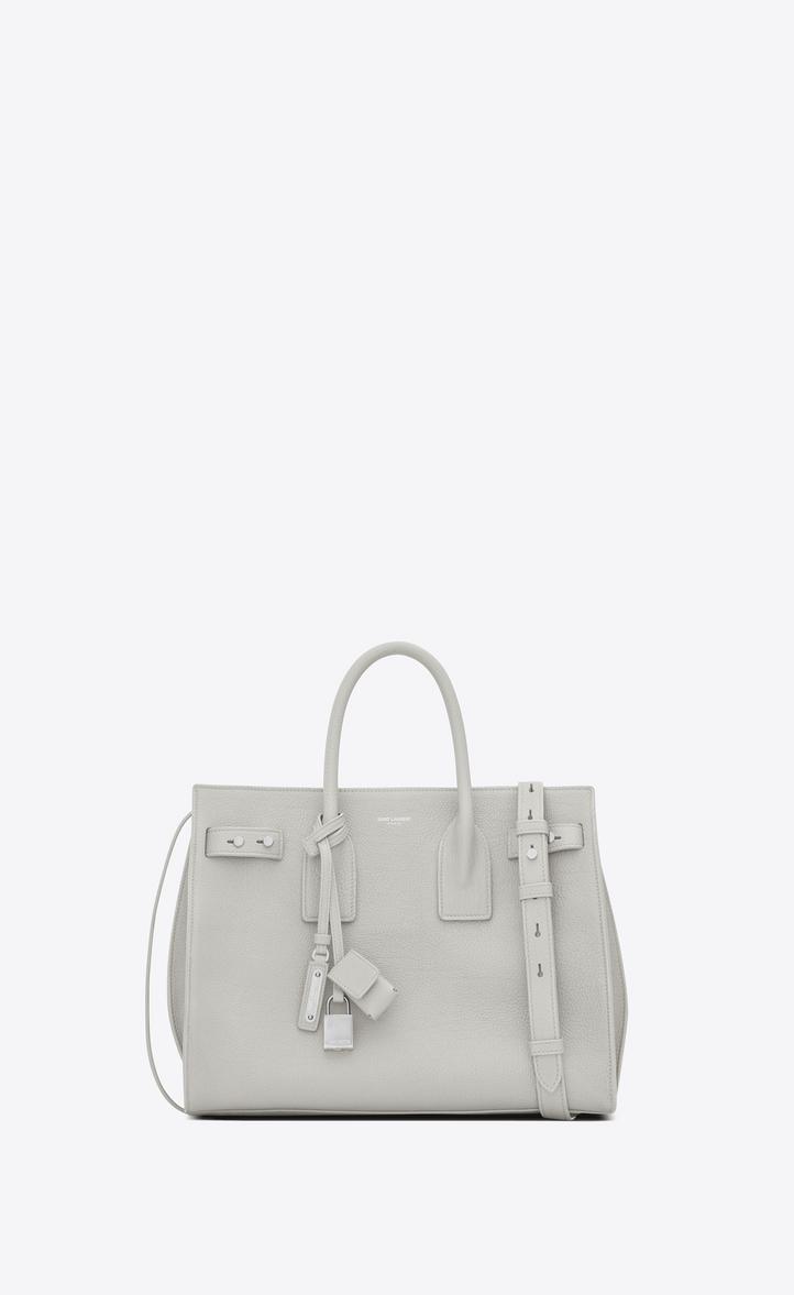 Saint Laurent Small Sac De Jour Souple Bag In Chalk White Grained ... 31c93696b5091