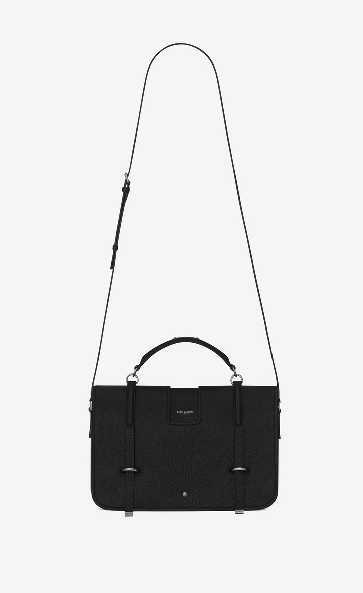 Large Charlotte Messenger Bag In Black Leather Front View