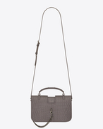 SAINT LAURENT Charlotte D medium charlotte messenger bag in fog crocodile embossed leather f