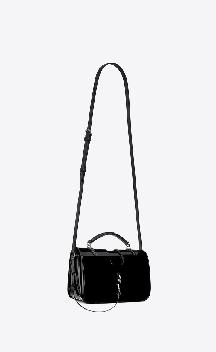 Saint Laurent Medium CHARLOTTE Messenger Bag In Black Patent ... 2ea84d871fb1d